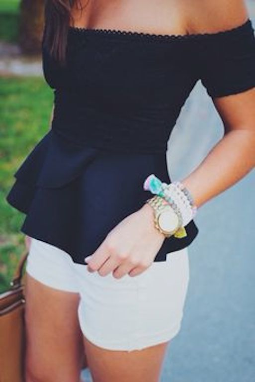 Look with off the shoulder peplum top and white shorts