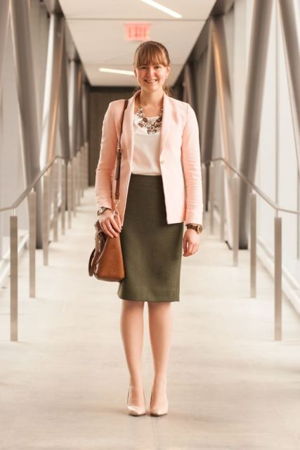 Look with olive green pencil skirt and light pink jacket