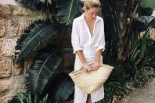 Look with straw tote and white shirt dress