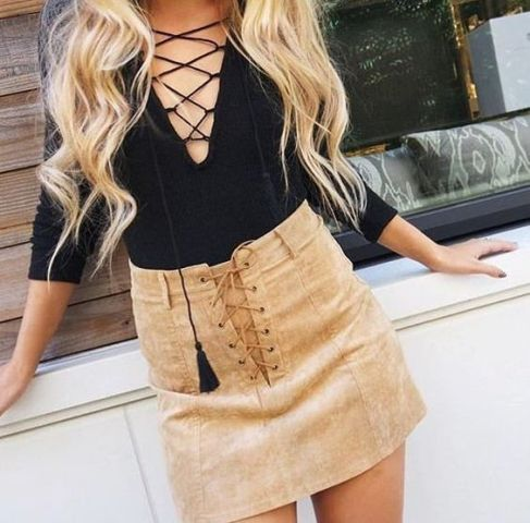 20 Cool Lace Up Skirt Outfits To Repeat - Styleoholic