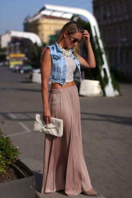 Maxi skirt, crop top and short denim vest