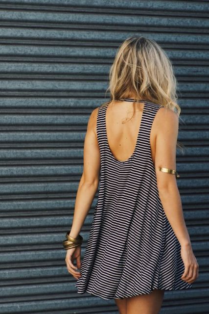 Mini tank top dress and bracelets