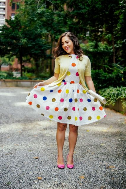 Multi-colored polka dot dress with bright heels