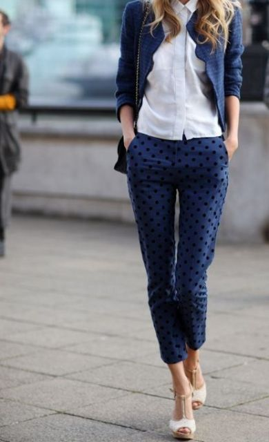 Office look with skinny pants and heels