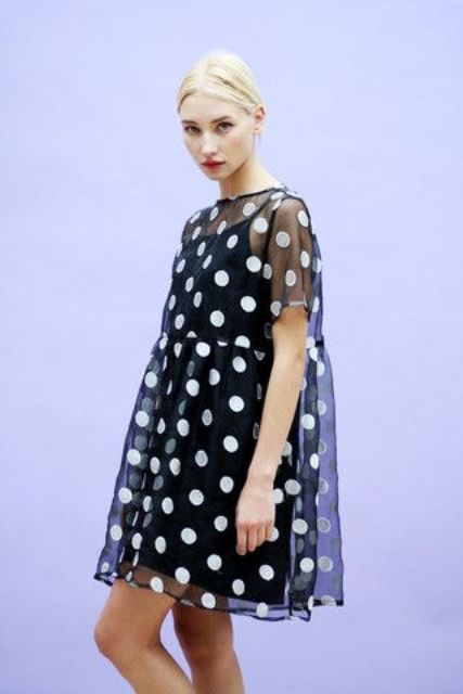 Organza polka dot dress idea