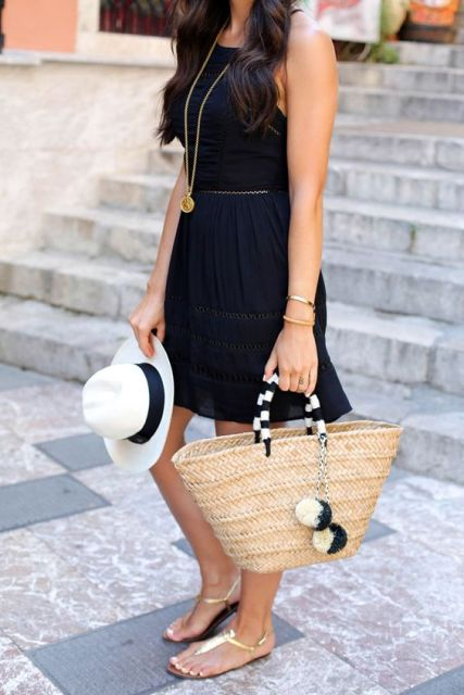 Outfit with black dress, flat sandals and bag
