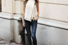 Outfit with creative shirt and jeans