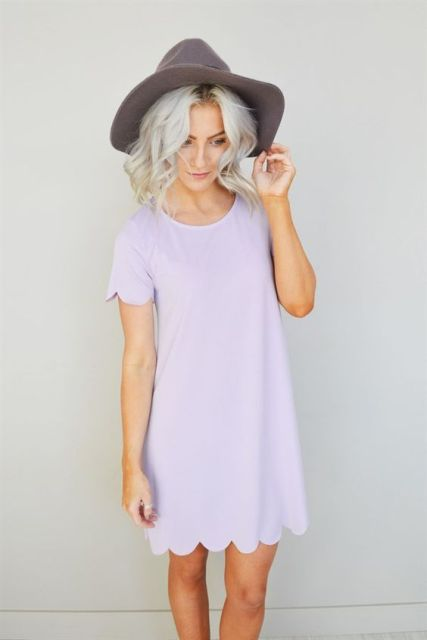 Pastel color dress with wide brim hat