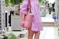 Pink straw tote and pink dress