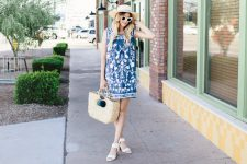 Printed mini dress with straw bag and hat