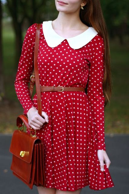 Red polka dot dress with white collar and belt