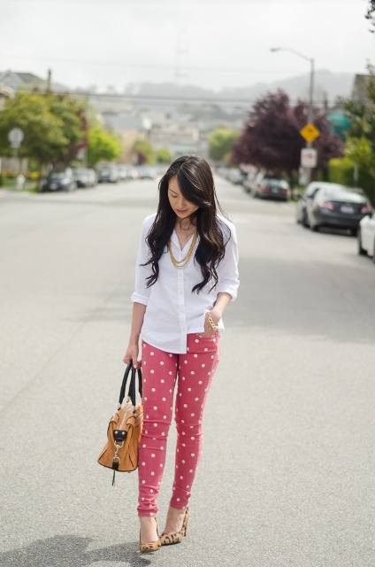 Red polka dot pants with white button down shirt