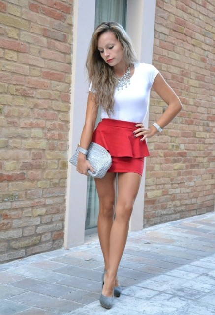 Red skirt with white t shirt and statement necklace