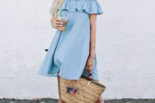 Romantic look with ruffle dress and big bag