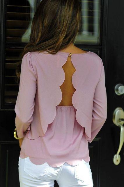 Scallop trim blouse idea