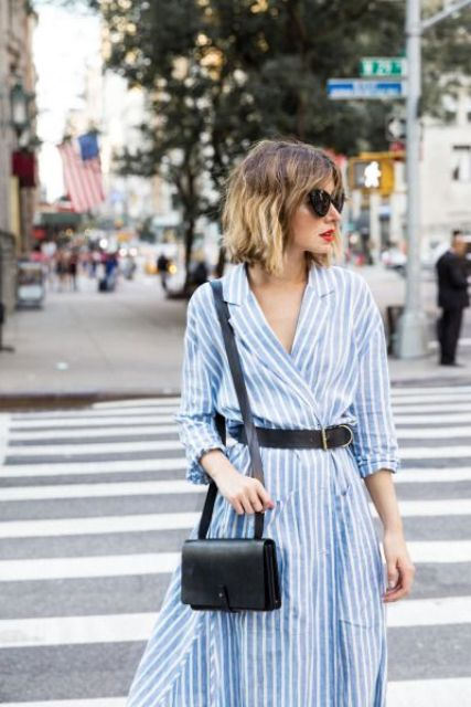 Shirtdress with black belt and black mini bag