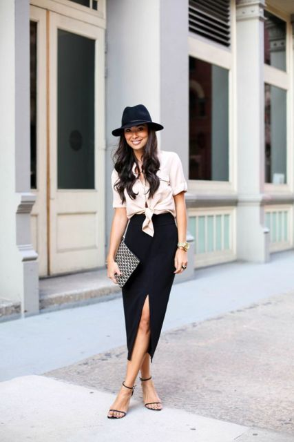 Side slit midi skirt and shirt