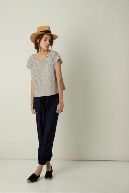 Simple but stylish outfit with trousers, hat and flats