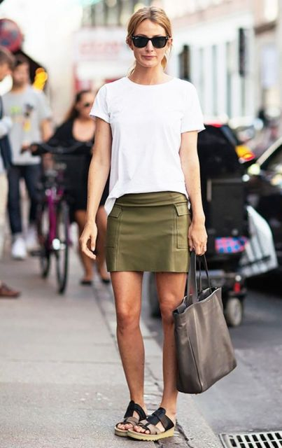 Simple casual outfit with white t shirt and mini skirt