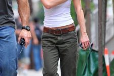 Simple look with cargo pants and white top