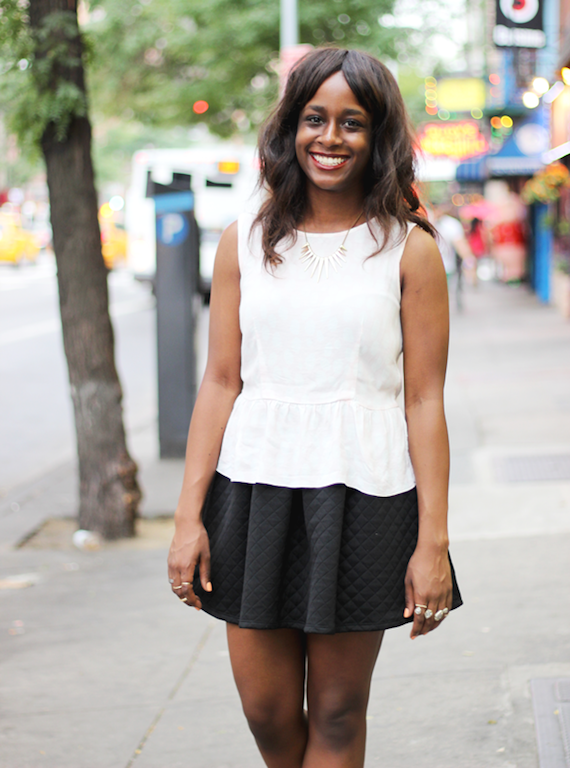 Simple white peplum top and flared skirt