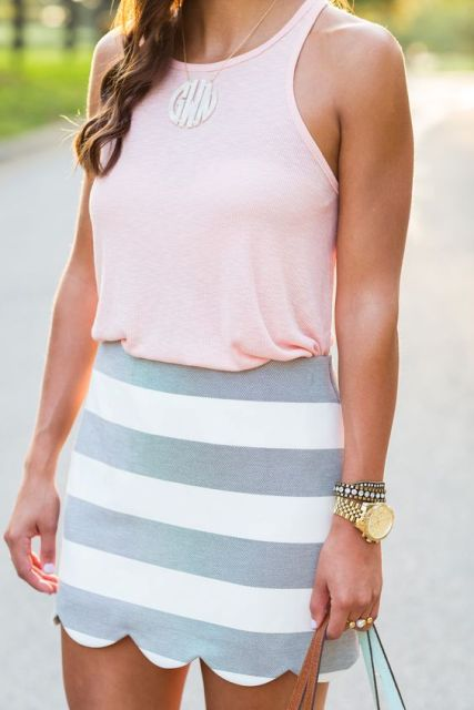 Striped skirt with light pink tank top