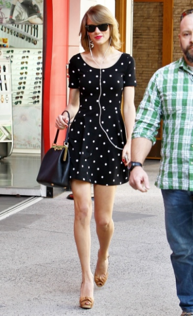 Stylish polka dot mini dress with heels