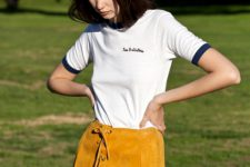Suede lace up skirt and simple t-shirt