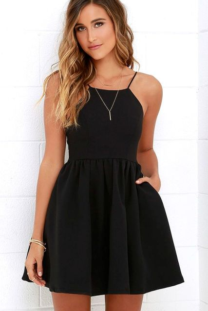 Summer look with black skater dress