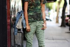 Summer look with camo shirt and cargo pants