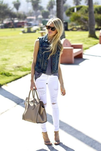Summer outfit with denim vest and white jeans