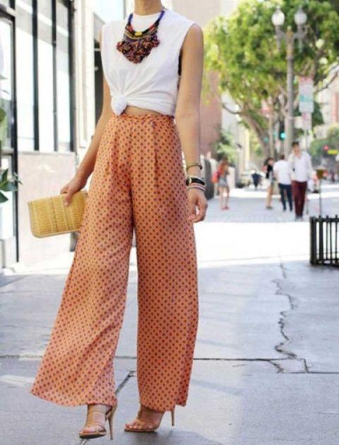 Super cool wide leg polka dot pants and white shirt