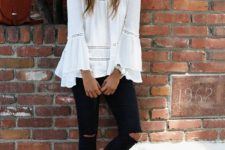 Trendy outfit with bell sleeve blouse and espadrilles