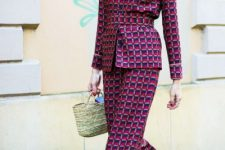 Trendy suit with mini straw bag