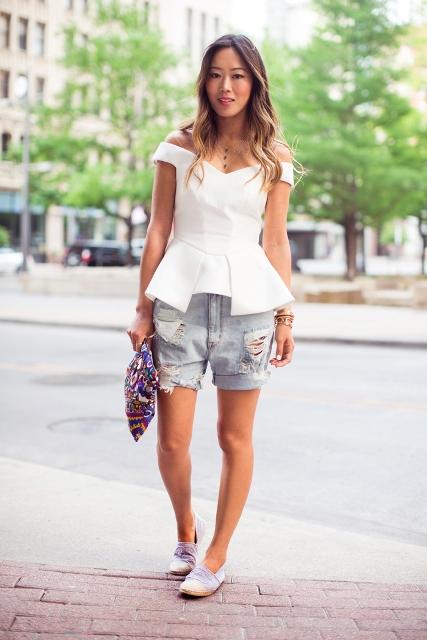 Unique blouse and denim shorts