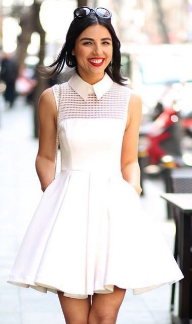 Very stylish white dress with collar