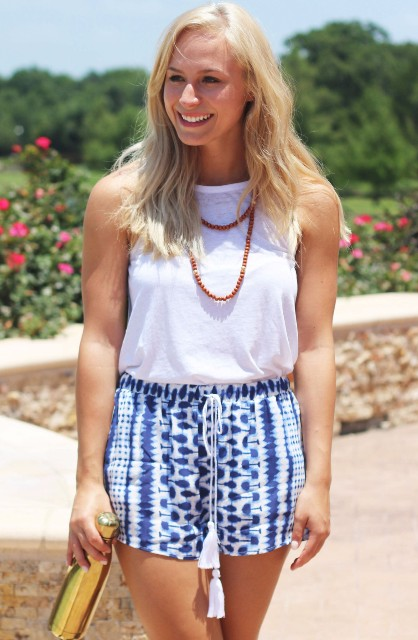 Watercolor shorts with tassels