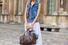 White maxi skirt and denim vest