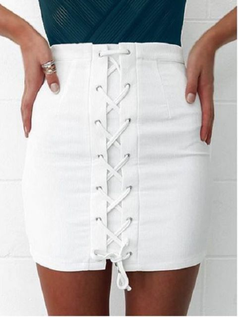 White mini lace up skirt