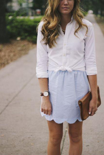 White shirt and printed skirt