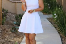 White skater dress without sleeves