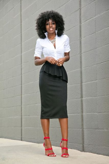 With V neckline white shirt and red heels