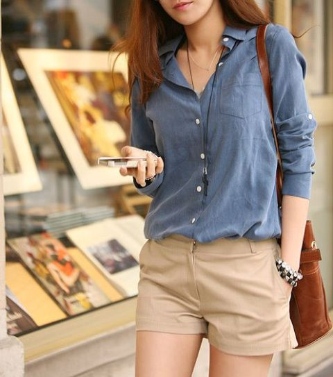 With blue button down shirt and brown bag. Great for interview or for an office.