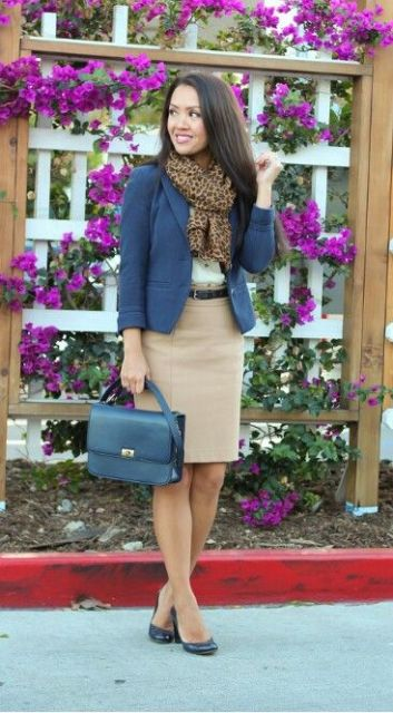 With blue jacket, leopard scarf and pumps