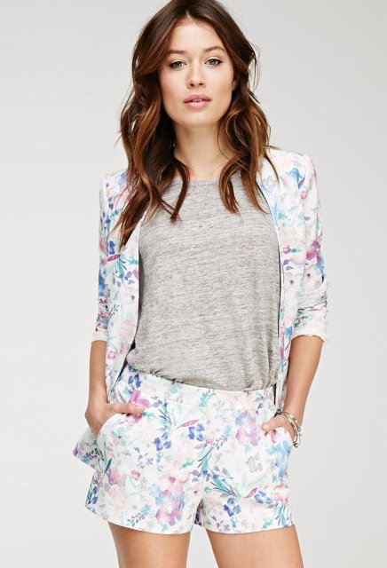 With gray top and watercolor jacket