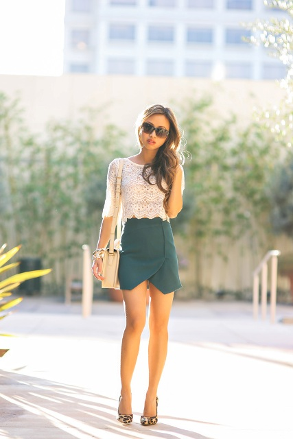 With lace blouse, leopard shoes and mini bag