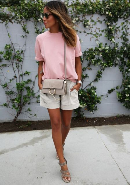 With light pink shirt, sandals and crossbody bag