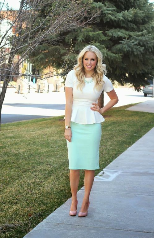 With pastel color midi skirt and neutral shoes