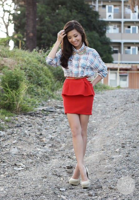 With plaid shirt and beige shoes