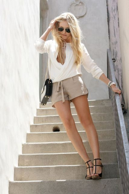 With wrap blouse and heels